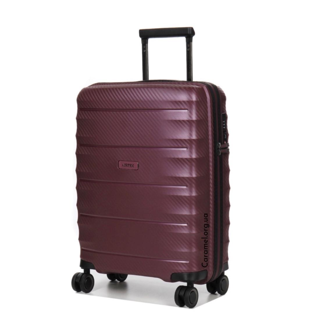 Чемодан полипропиленовый на 4х колесах средний M фиолетовый | 28х66х46 см | 3.200 кг | 75 л | AIRTEX 242