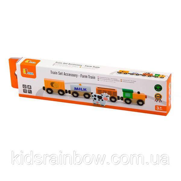 Набір для залізниці Viga Toys Поїзд-ферма (50821)