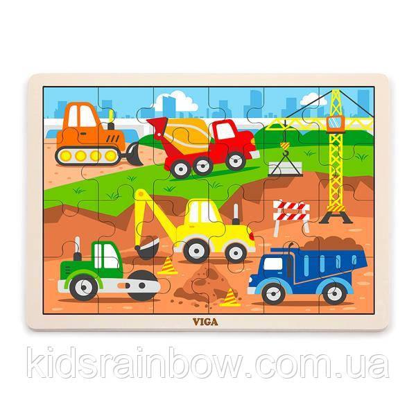 Дерев'яний пазл Viga Toys Будівельна техніка, 24 ел. (51463)