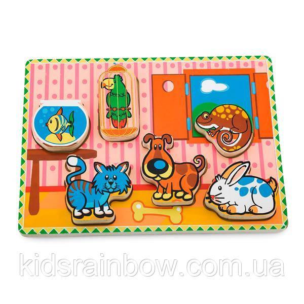 Дерев'яна яна рамка-вкладиш Viga Toys Домашні вихованці (56440)
