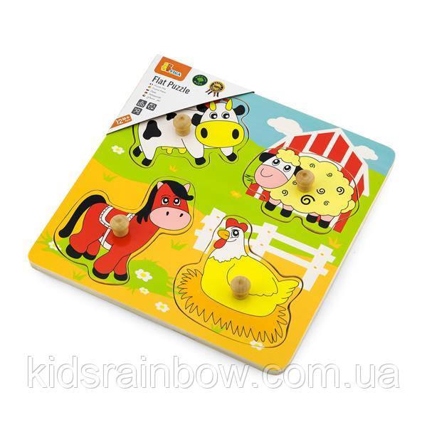 Дерев'яна яна рамка-вкладиш Viga Toys Мешканці фермі (59562)