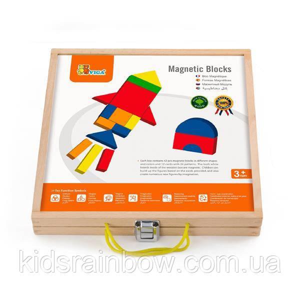 Набір магнітних блоків Viga Toys Форми і кольори (59687)