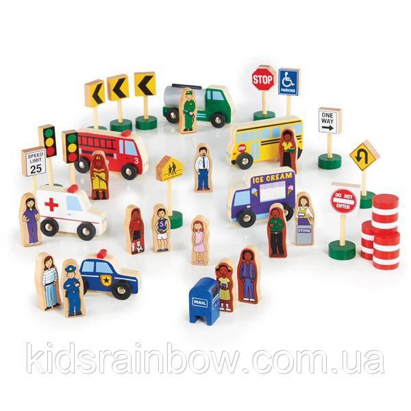 Набір фігурок і машин Guidecraft Block Play до дороги з дерева, 36 деталей (G6717)