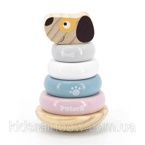 Дерев'яна яна пірамідка Viga Toys PolarB Собачка, неваляшка (44042)