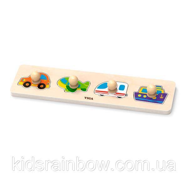 Дерев'яна яна рамка-вкладиш Viga Toys Віді транспорту (44534)