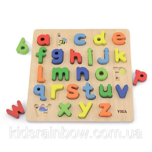 Дерев'яна яний пазл Viga Toys Англійський алфавіт, малі літери (50125)
