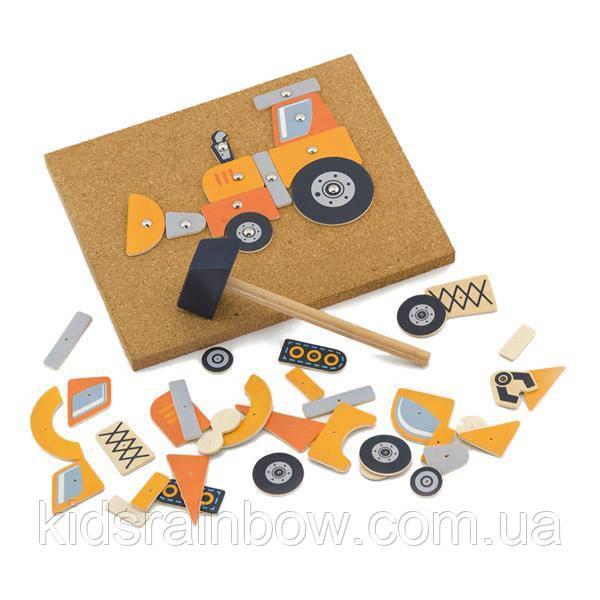 Набір для творчості Viga Toys Дерев'яна аплікація Будівельна техніка (50336)