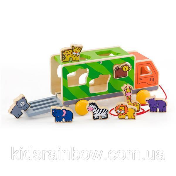 Дерев'яна яна каталка-сортер Viga Toys Вантажівка зі звірятами (50344)