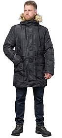 Зимова дизайнерська парку для чоловіків колір чорний модель 72315