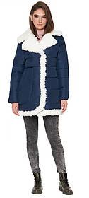 Жіноча куртка оригінального дизайну зимова синя модель 2162