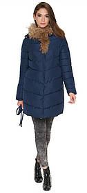 Куртка синя жіноча зимова якісного пошиття модель 9087 (ЗАЛИШИВСЯ ТІЛЬКИ 44(XS))
