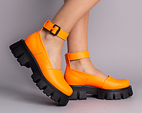 Туфлі жіночі шкіряні помаранчеві на масивній підошві, фото 1