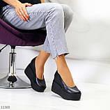 Модельні жіночі шкіряні чорні туфлі натуральна шкіра на платформі танкетці, фото 4