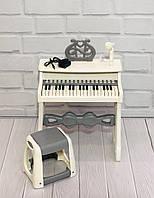 Детское электропианино синтезатор на 37 клавиш с микрофоном, регулировкой громкости и со стульчиком, белое