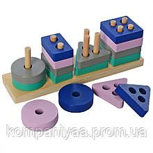 Дерев'яна іграшка Геометрика MD 2567 16 деталей