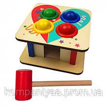 Дерев'яна іграшка Стучалка MD 1560 молоточок, 4 кульки (Сердечко)
