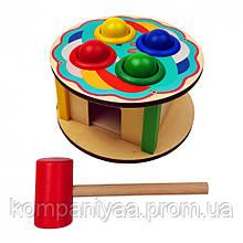 Дерев'яна іграшка Стучалка MD 1560 молоточок, 4 кульки (Торт)