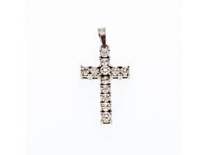 Срібний хрестик 925 проба з діамантами
