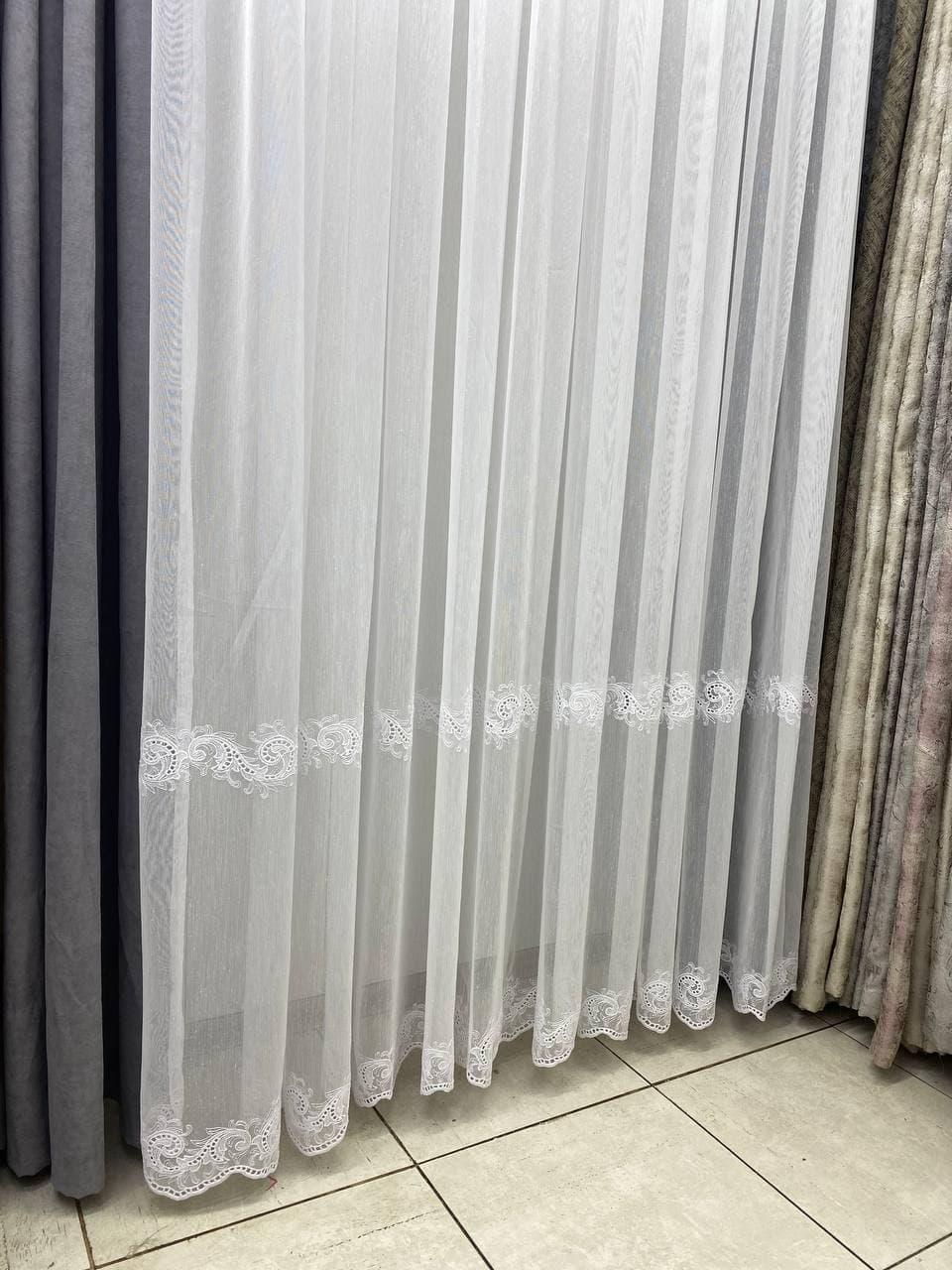 Фіранка льон нізамі у вітальню або спальню. Колір: Білий
