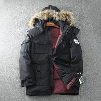 Очень тёплый мужской зимний пуховик куртка с натуральной опушкой, чёрный, размер 46-52, фото 1