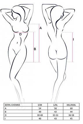 Сорочка бебі дол BERYL CHEMISE L/XL - Passion, трусики, напівпрозора, стрічка під груди, фото 2