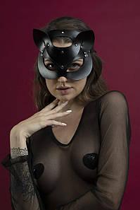Маска кішечки Feral Feelings - Catwoman Mask, натуральна шкіра, чорна