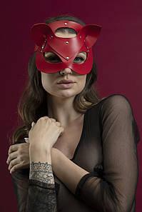 Маска кішечки Feral Feelings - Catwoman Mask, натуральна шкіра, червона
