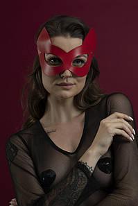 Маска кішечки Feral Feelings - Kitten Mask, натуральна шкіра, червона
