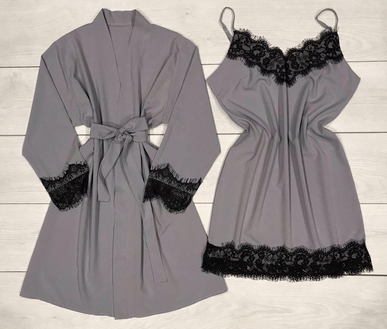 Ночная сорочка с кружевом + халат Молодежный комплект домашней одежды