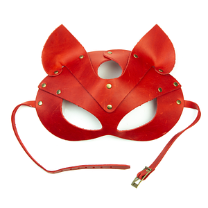 Преміум маска кішечки LOVECRAFT, натуральна шкіра, червона, подарункова упаковка
