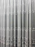 Тюль на основі бамбука з ніжною красивою вишивкою Колір: Сірий, фото 3