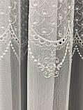 Тюль на основі бамбука з ніжною красивою вишивкою Колір: Сірий, фото 7