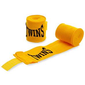 Бинты боксерские хлопок с эластаном Twins 5466, 3м желтый