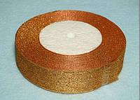 Лента парча (люрекс) 0,7 см темное золото