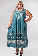 Платье голубое с рисунком ручной работы, на 54-66 размеры