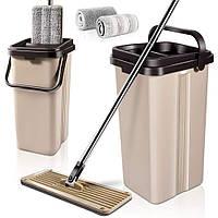 Ведро с автоматическим отжимом, комплект швабра лентяйка для уборки 2 в 1 Scratch Cleaning Mop