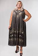 Платье серое с рисунком ручной работы, на 54-66 размеры
