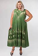 Платье зеленое с рисунком ручной работы, на 54-66 размеры