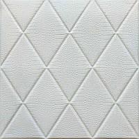 Самоклеющаяся декоративная потолочно-стеновая 3D панель Ромбы под кожу 700x700х8мм, фото 1