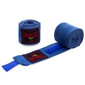 Бинты боксерские Everlast 3619, хлопок 3м синий