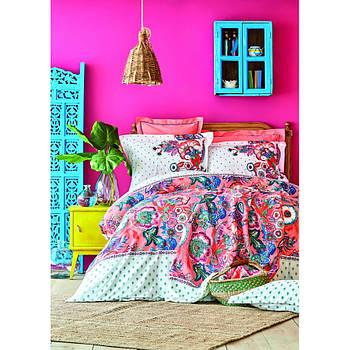Постельное белье Karaca Home ранфорс - Merida somon лососевый евро (svt-2000022279338)