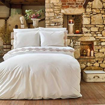 Постельное белье Karaca Home ранфорс - Melissa pudra пудра с гипюром евро (svt-2000022265249)
