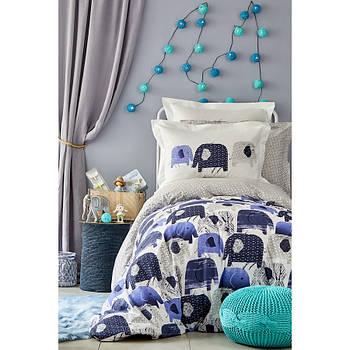 Постельное белье Karaca Home - Ruben mavi 2019-2 голубой ранфорс подростковое (svt-2000022216326)