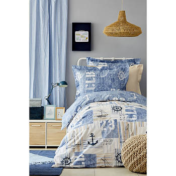 Постельное белье Karaca Home - Sandes indigo 2019-2 ранфорс подростковое (svt-2000022216333)