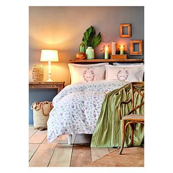 Постельное белье Karaca Home ранфорс - Sonya yesil зелений евро bag (svt-2000022279406)
