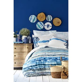 Постельное белье Karaca Home ранфорс - Nalini mavi голубой евро (ПВХ) (svt-2000022216616)