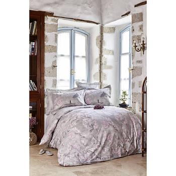 Постельное белье Karaca Home ранфорс - Akina gri серый евро (ПВХ) (svt-2000022216685)