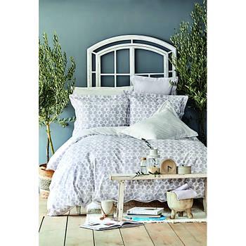 Постельное белье Karaca Home ранфорс - Amanda gri 2020-2 серый евро (ПВХ) (svt-2000022254403)