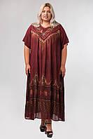 Платье бордовое с рисунком ручной работы и рукавом, на 54-66 размеры