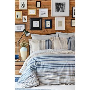 Постельное белье Karaca Home ранфорс - Aspen mavi голубой евро (svt-2000022272971)